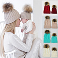 Baby Knitted Wool Hat Caps for Girls Toddler Crochet Beanies Fur Ball Cute Baby Boys Hats Family Cap 2 Pcs Gorros Para Bebe