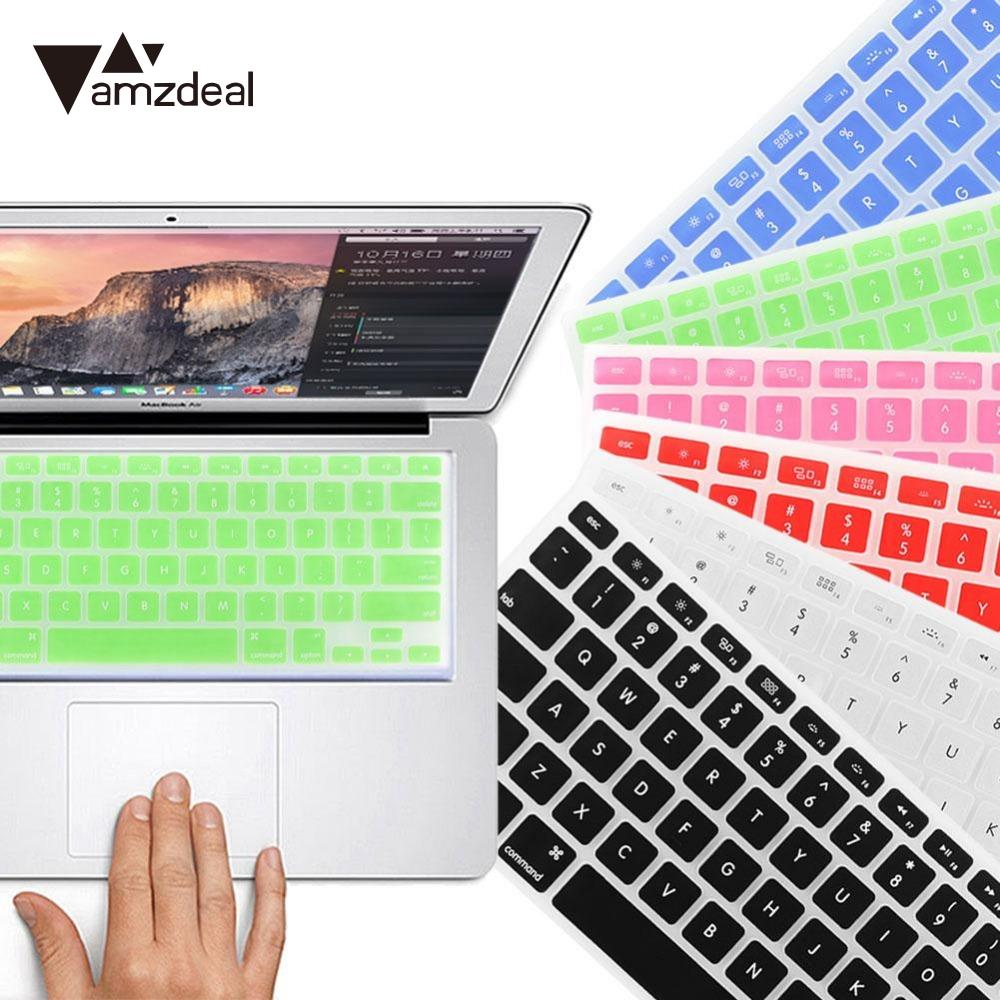 amzdeal Keyboard Cover Case For MacBook Pro 13.3 15.4  US alphabet Stickers Protector Black Keyboard Protective Stickers