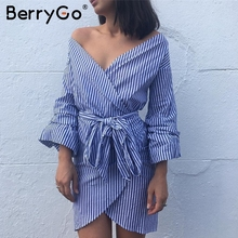 BerryGo Deep v neck long sleeve women dress shirt Sexy off shoulder bow tie plaid dress Stripe short vestidos summer wrap dress