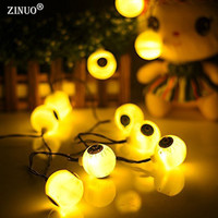 ZINUO Waterproof 5M 20LED Solar Halloween Decoration Ghost Eyes Fairy Light Solar Powered Halloween Lights Outdoor