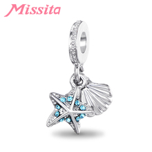 MISSITA Women Starfish Seashells Pendant Charms fit Pandora Bracelets & Necklaces for Jewelry Making Ladies Accessories