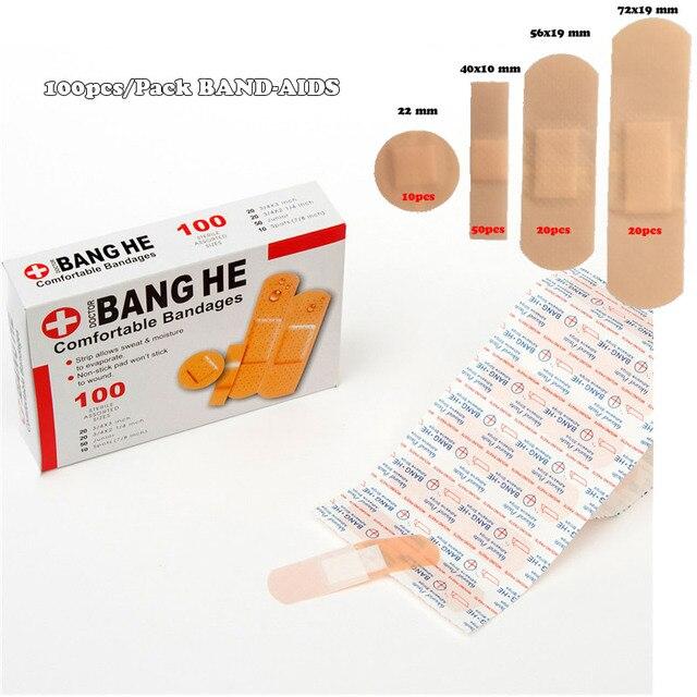 Vendajes de tirita antibacterias para uso médico, adhesivo impermeable para heridas, suministros de botiquín de primeros auxilios para viajes en el hogar, paquete de 100 unidades
