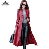 2017 Spring Autumn Women Leather Jacket Fashion High End PU Leather Coats X Long Belted Slim