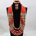 2017 Más Nuevos Largos de Coral Perlas Joyería fija 29 Pulgadas Boda Africana Nupcial/Mujeres Collar de Perlas de Set Envío Libre CJ854
