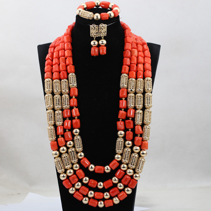2017 Newest Long Coral Beads Jewelry sets 29 Inches African Wedding Bridal/Women Beads Necklace Jewelry Set Free Shipping CJ854