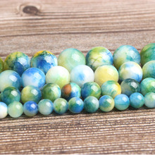 LanLi fashion natural Jewelry Colored Persian jades stone Loose beads DIY woman bracelet necklace ear stud accessories