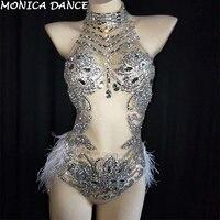 Пикантные блестящие серебряные кристаллами сетка боди перо купальник наряд Для женщин бар сценического танца танцевальный костюм для вече