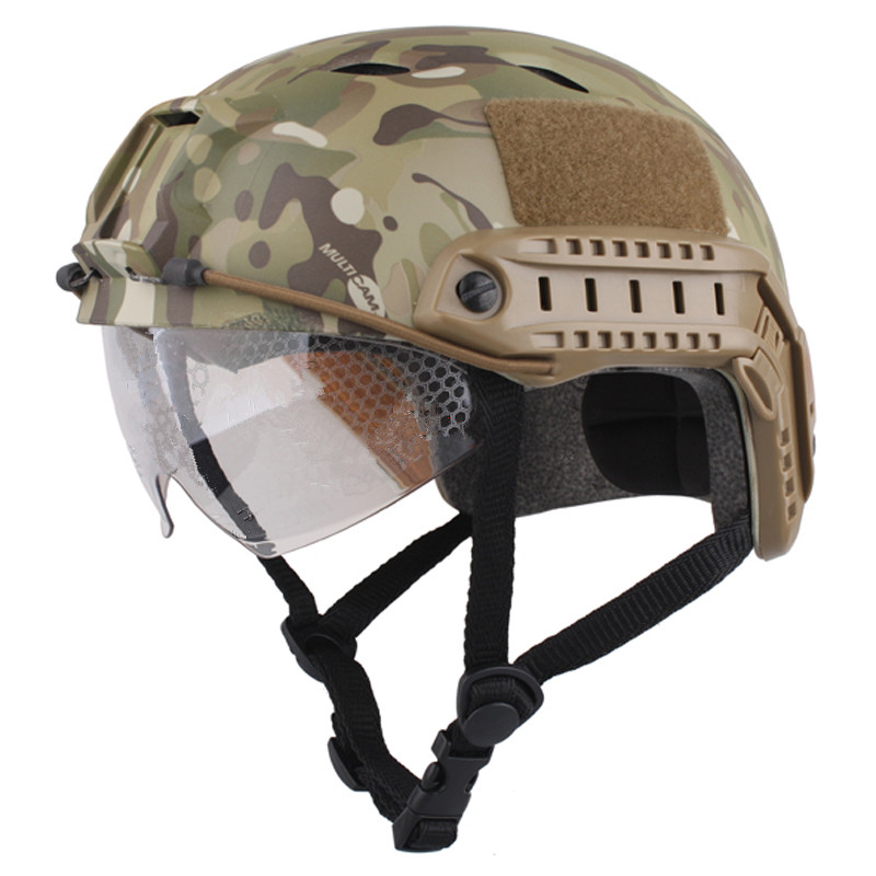 Sports Helmets Cascos Airsoft Paintball Base Jump Helmet Protective Goggles Military Tactics Retail Airsoftsports BLACK