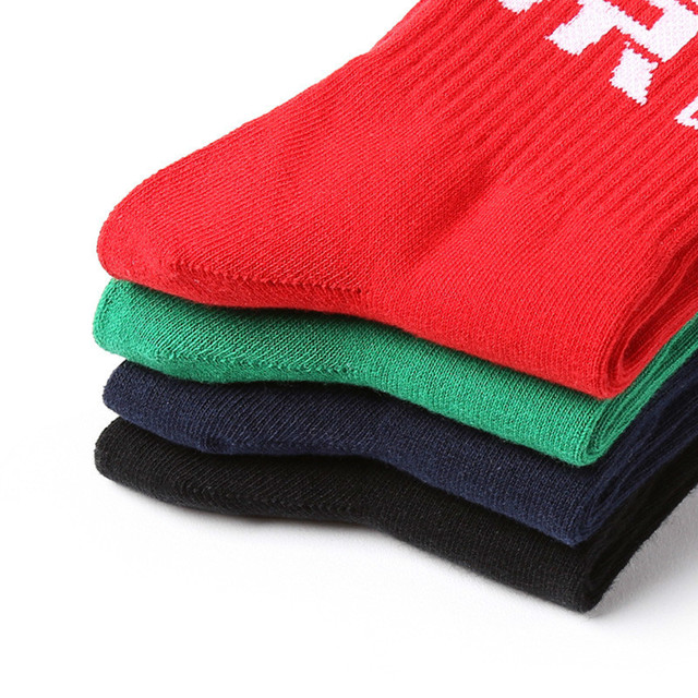 PEONFLY Men Personality Print Chinese National Word Ventilation Cotton Socks Male Solid Color Hip Hop Street Skate Socks Autumn