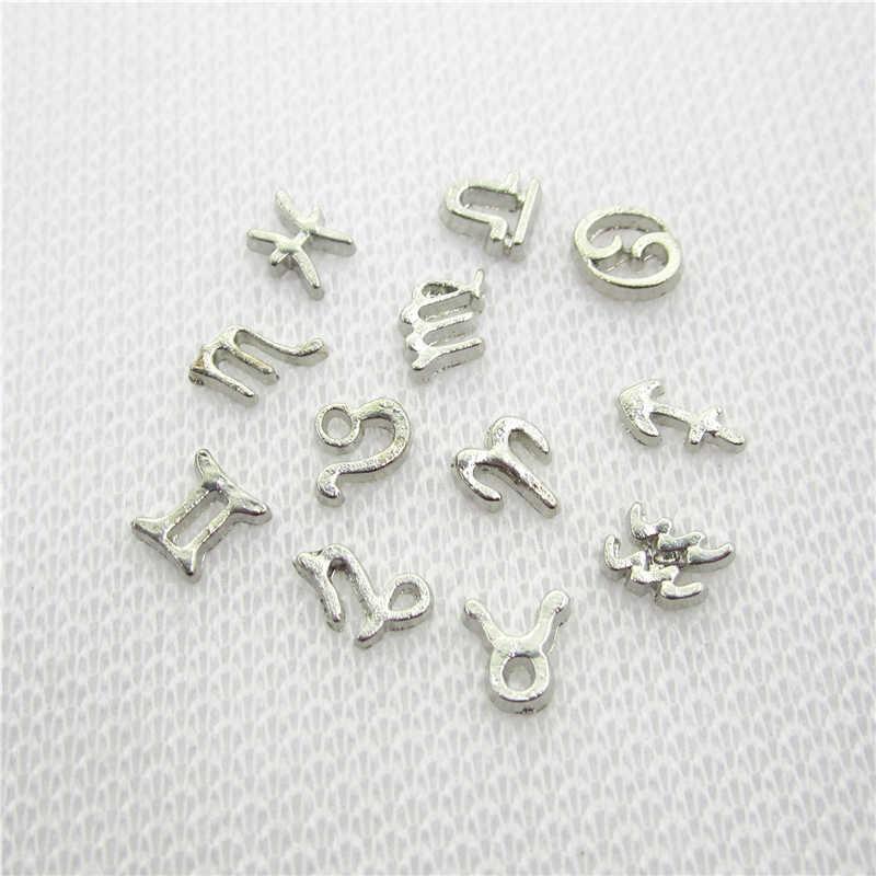 120 יח'\חבילה לערבב 12 הסימנים של גלגל המזלות צף קסמי תכשיטי DIY קסם תליוני זכוכית זיכרון הורוסקופ HD קסמי