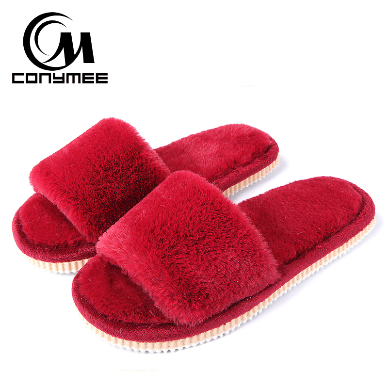CONYMEE Winter Fluffy Slippers 2019 Women Autumn Faux Fur Home Flats Shoes Plush Indoor Slippers Ladies Cotton Bedroom Slippers