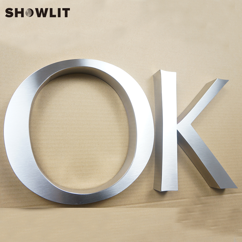 Brushed Fabricated Stainless Steel 3D Outside Signs Logo