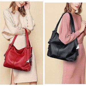 Image 3 - 大トートバッグの女性のショルダーバッグレディースソフトレザーハンドバッグ女性黒、赤、グレーダークブルーハンドバッグ2020嚢