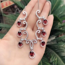 Boss recommended products, 925 silver, natural garnet necklace, wearing a