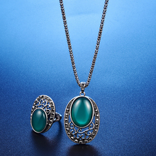 Vintage Indian Jewelry Sets For Women Antique Silver Black Crystal Big Oval Green Resin Stone Pendant Necklace Earrings Ring Set