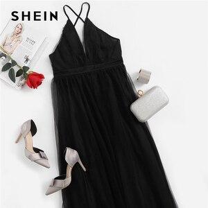 Image 5 - SHEIN Black Night Out Plunging Neck Deep V Neck Crisscross Back Cami Sleeveless Backless Dress Women 2018 Summer Sexy Dresses