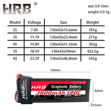 HRB 3800mah Graphene 7.4V 11.1V Lipo Battery 2S 3S 4S 100C 14.8V XT90 XT60 Deans T EC5 RC Airplane Drone Parts 5S 18.5V 6S 22.2V
