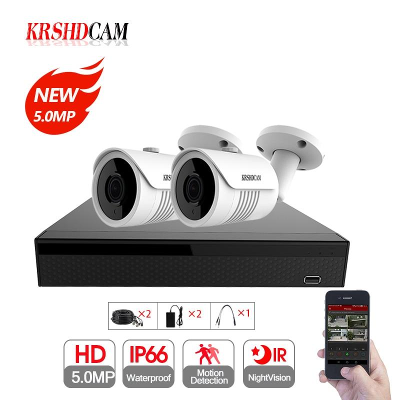 5MP CCTV caméra Système 5.0MP AHD DVR 2 pcs 2592*1944 AHD Caméras étanche ip66 Bullet extérieure de sécurité vidéo surveillance