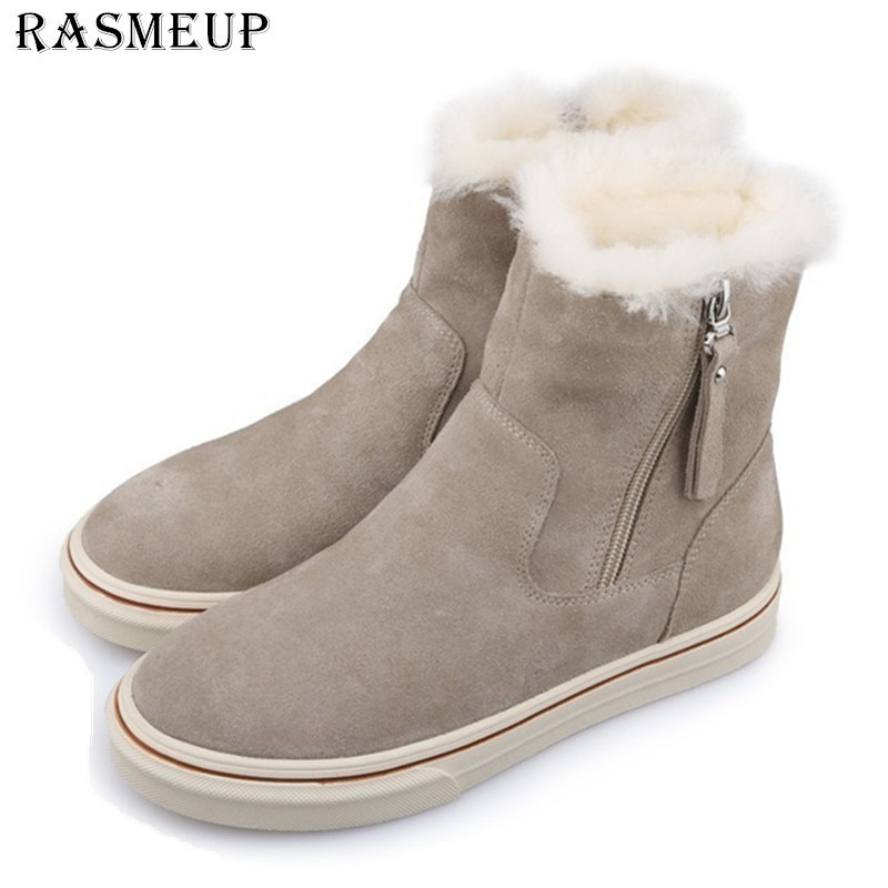 RASMEUP Genuine Suede Leather Women s Snow Boots Non slip Women Winter Ankle Boots 2018 Plush