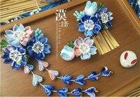 Tay làm kẹp tóc vải cotton tóc clip barrettes phong cách Nhật Bản anime cosplay phụ kiện miễn phí vận chuyển sakura bunny màu xanh