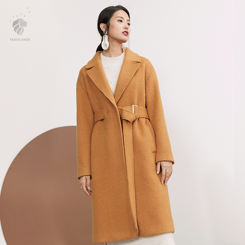 FANSILANEN 2018 New Arrival Fashion Autumn/Winter Casual Long Wool Cashmere Coat Woolen Yellow Women Female Overcoat Z72180