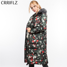 Faux Fur High Quality Print Warm Winter Jacket Women Hooded Coat Down Parkas Female Outerwear CRRIFLZ 2017 New Winter Collection