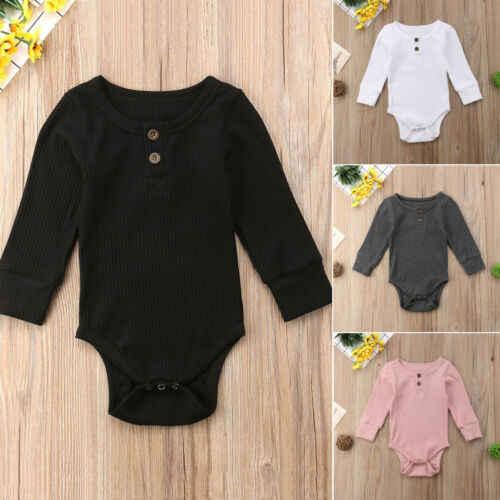 2019 Newborn Infant Cute Cotton Long Sleeve Unisex Bebe Boy Girls Bodysuit Baby Clothing Leotard Body Tops 4 Colour 0-2Y
