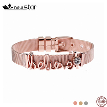 2018 keeper jewelry slide letter charms adjustable Reflection DIY charms mesh brecelets for women jewelry gift vinnie design jewelry stainless steel mesh keeper bracelet with rose gold diy slide charms bracelets sets