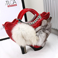 2017 New Women's Unique High Heel Shoes Design Luxury Rhinestone Handbag Handmade Beaded Bag Cross Body Fox Fur Geometric Bags