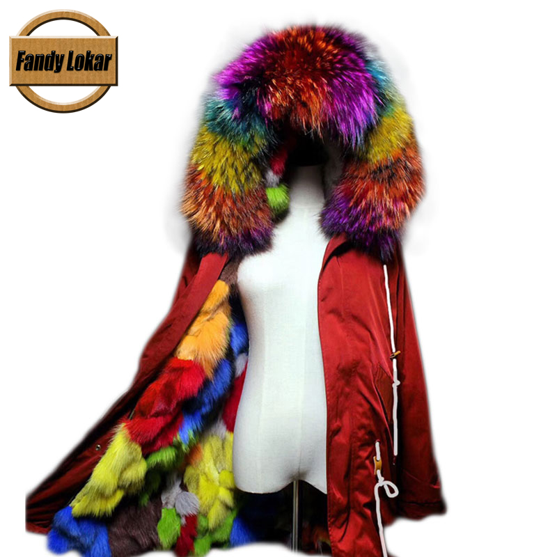 New Long Warm Raccoon Fur Collar Coat Women Winter Real Fox Fur Liner Hooded Jacket Women Bomber Parka Female Ladies FP9116 red shell warm raccoon fur collar coat women winter real fox fur liner hooded jacket women long parka female ladies fp891