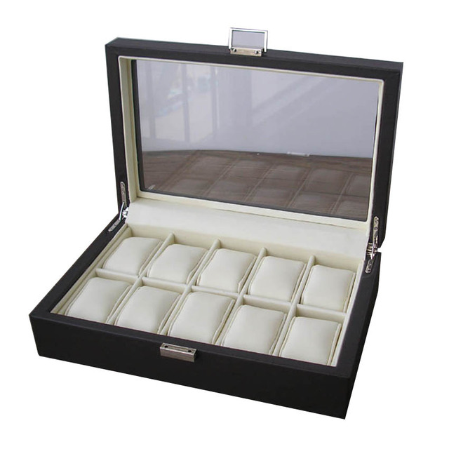 Ever Perfect Luxury 10-Slot Wood Leather Jewelry Watch Display Case Exhibition Present Box Transparent Glass Lid Brown  1250