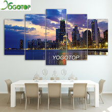 YOGOTOP DIY Diamond Painting Cross Stitch Kit Full Embroidery 5D Drill Mosaic busy city chicago evening landscape 5pcs ML471(China)