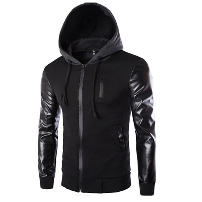 Coat Hoody Hooded-Jacket Casual New Autumn Slim And Zipper PU Sportswear Sleeve Men High-Quality