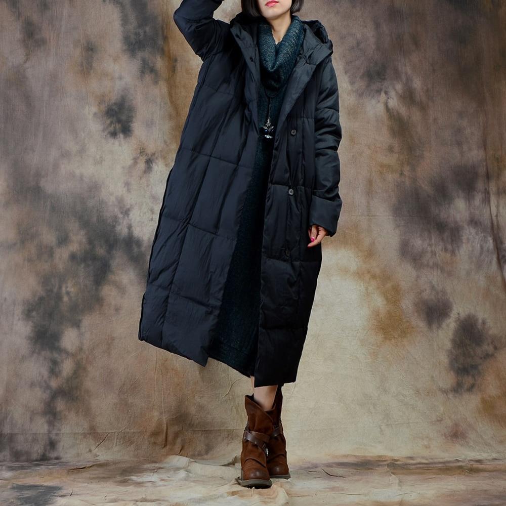 Femme Vintage Manteau Bas Zipper Vers Chaud Capuchon Black Le Coton Lâche Coupe Veste dark Manches Épais Tops vent Down Red Femmes À Long Hiver Longues O7Ppxwqf