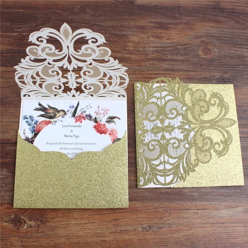 Ev ve Bahçe'ten Kartlar ve Davetiyeler'de Lüks cep düğün davetiyeleri lazer kesim glittery altın düğün kartları tutucu parti dekorasyon teklif özelleştirilmiş baskı'da  Grup 1