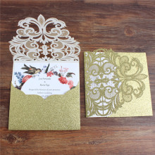 Luxury pocket wedding invitations laser cut glittery gold cards holder party decoration offer customized printing