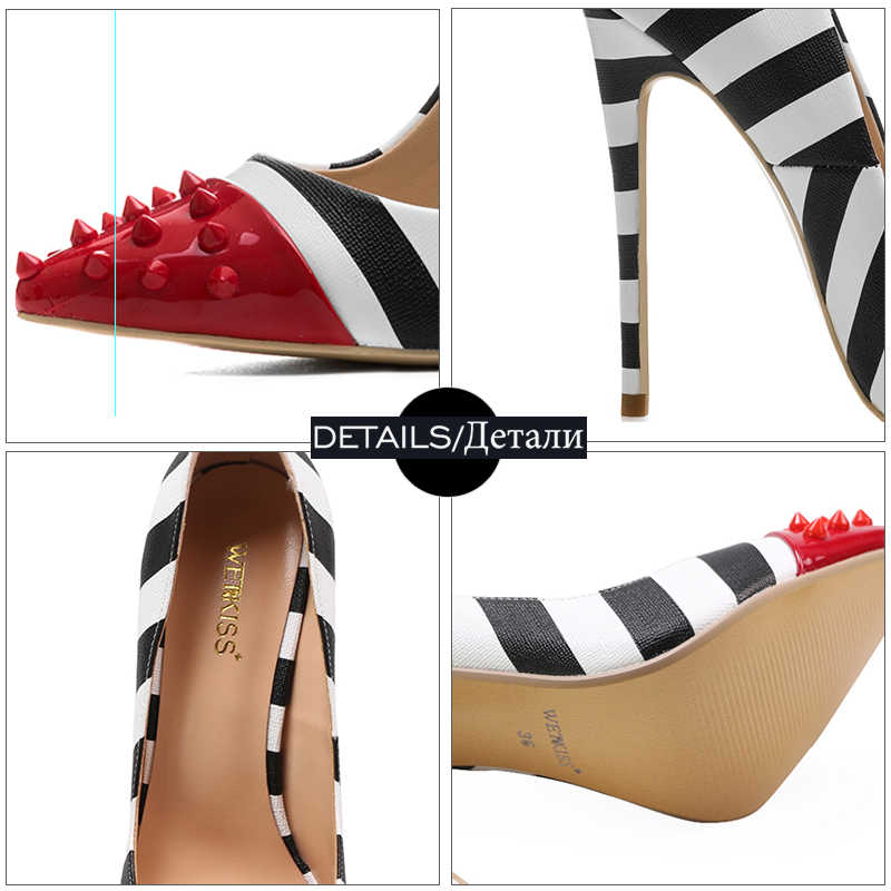 WETKISS Studded High Heels 12cm Stilettos Women Pointed Toe Rivet Ladies Party Pumps Zebra Shallow Colorful Shoes Woman 34-45