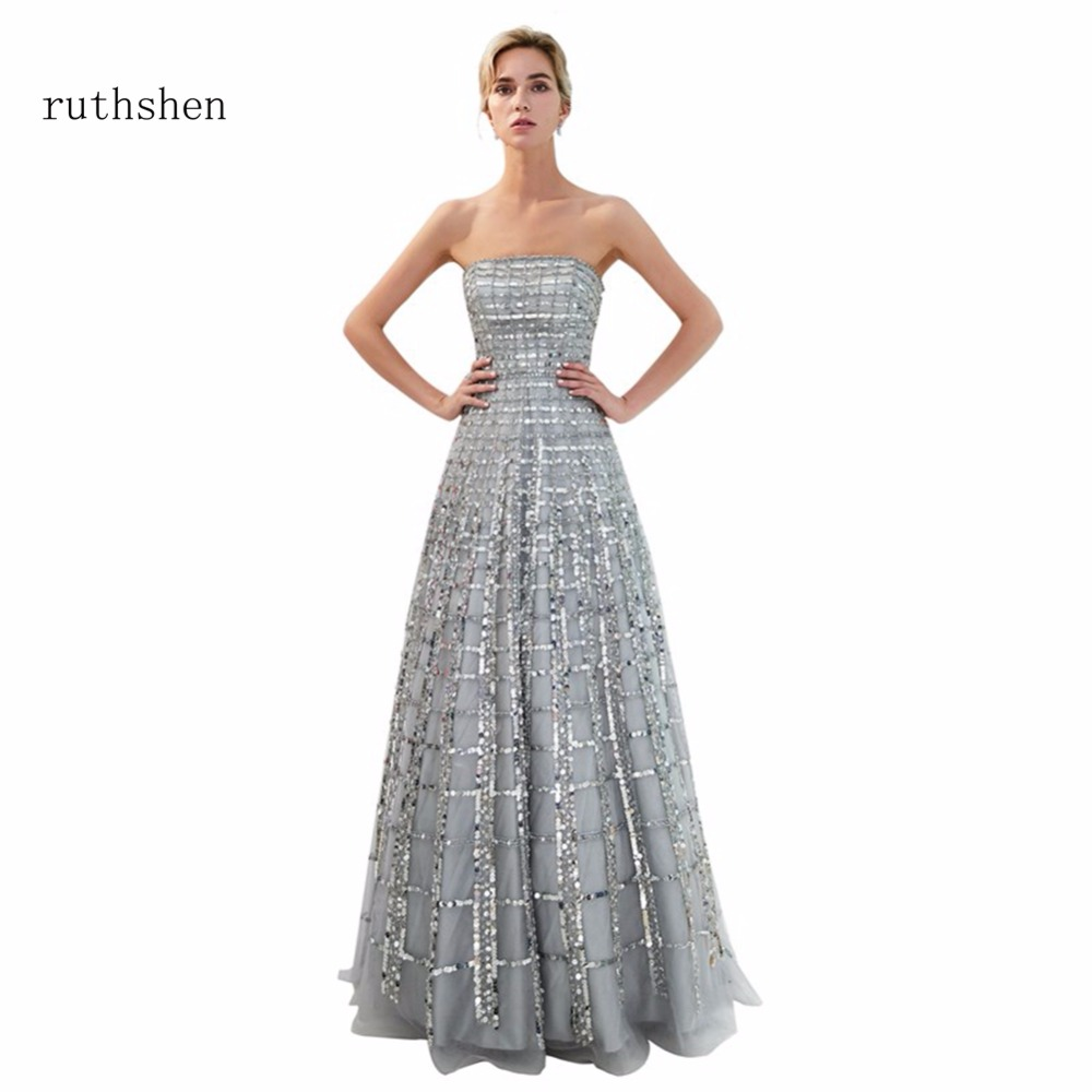 ruthshen Reflective   Dress   Sexy Gray A Line Floor Length   Evening     Dresses   Luxury 2018 Long Beaded Ladies Formal Prom Gowns