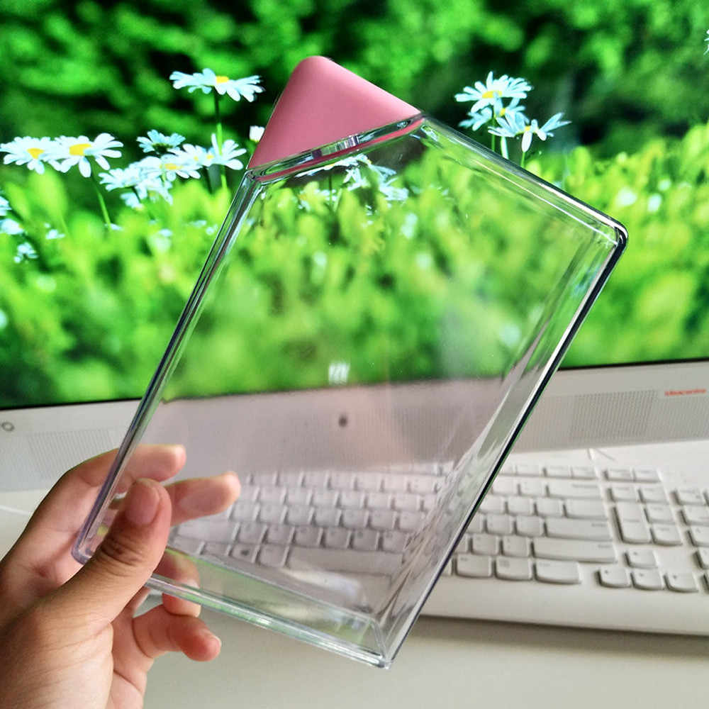 Plastic Water Bottle Clear Book Portable Paper Pad Water Bottle Flat Drinks Kettle Travel Riding camping outdoors Portable tool