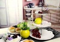 BETOHE 3 Camadas de cerâmica Bolo Placa Stand Centro Rods Alça para Festa de Casamento Crown Rod Deco cozinha