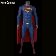 Hero Catcher Toppkvalitet Skum Padding Präglad Logo Superman Cosplay Kostym 3D Logo Superman Spandex Kostym Man Stål Kostym