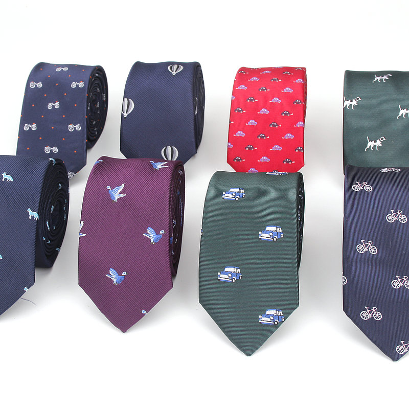2018 Brand New Tie For Men Polyester Jacquard Animal Necktie For Wedding Business Suits 6cm Skinny Dot Neck Ties Slim Gravatas