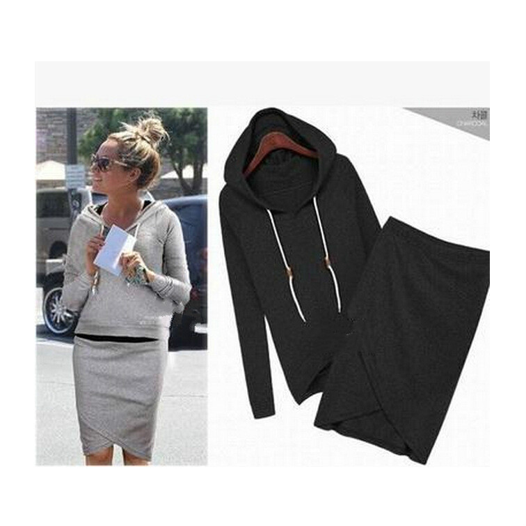 Fashion Womens Sets Long -Sleeved Hooded Shirt Irregular Sweater Skirts Two Female Suits Novidades Vestidos