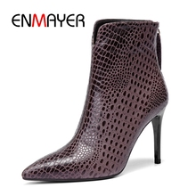 ENMAYER Women ankle boots women pointed toe thin heel  zipper sheep skin comfortable boors Size 34-39 ZYL1091