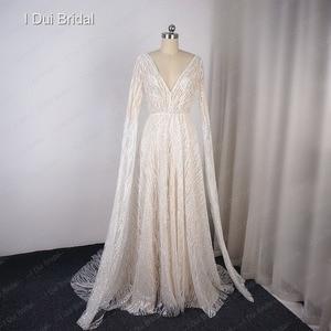 Image 3 - Vestido de novia Sparkle con manga larga hasta el suelo escote en V Línea A