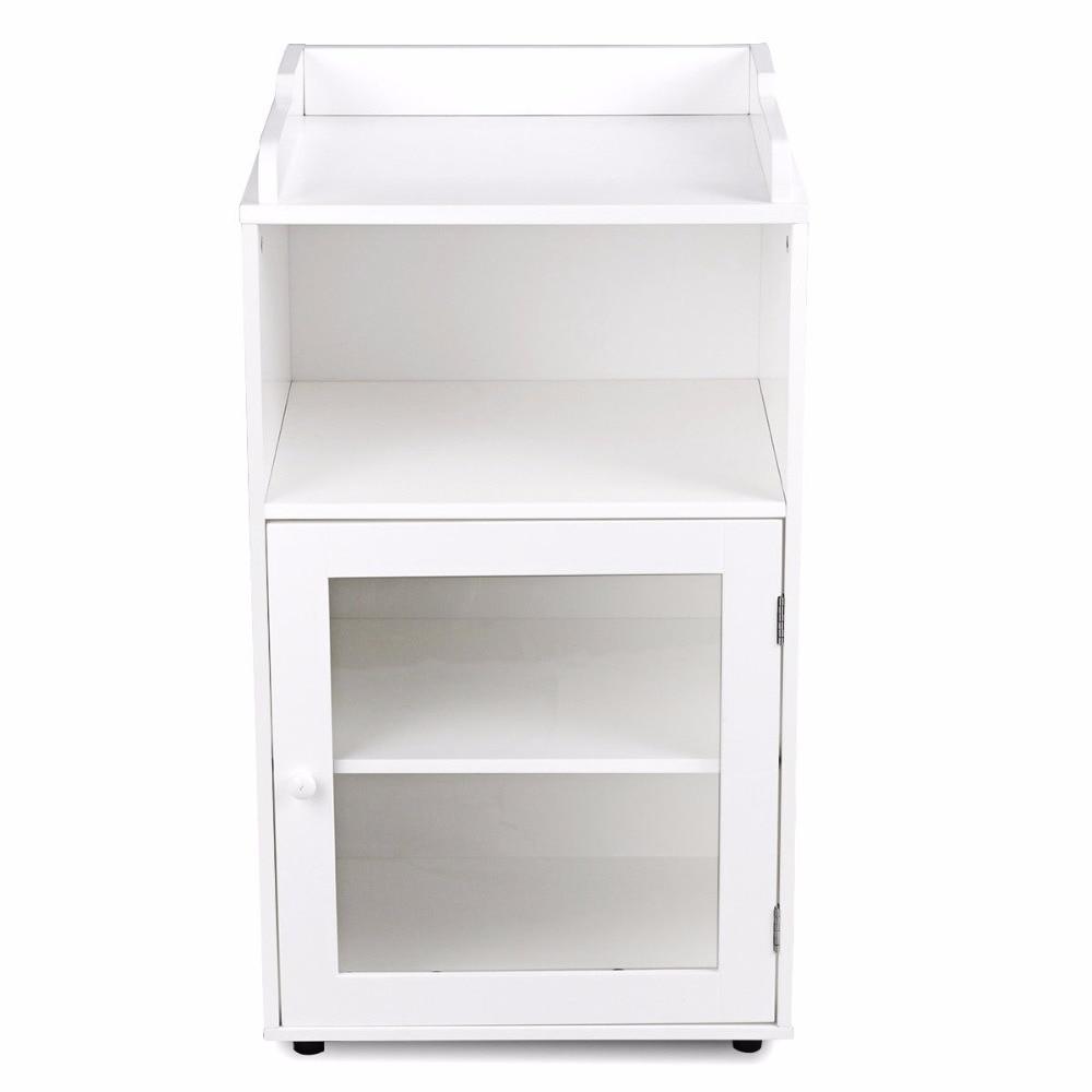 Giantex Bathroom Floor Cabinet End Table Storage Adjustable Shelf Organizer W/Door White HW59316 5