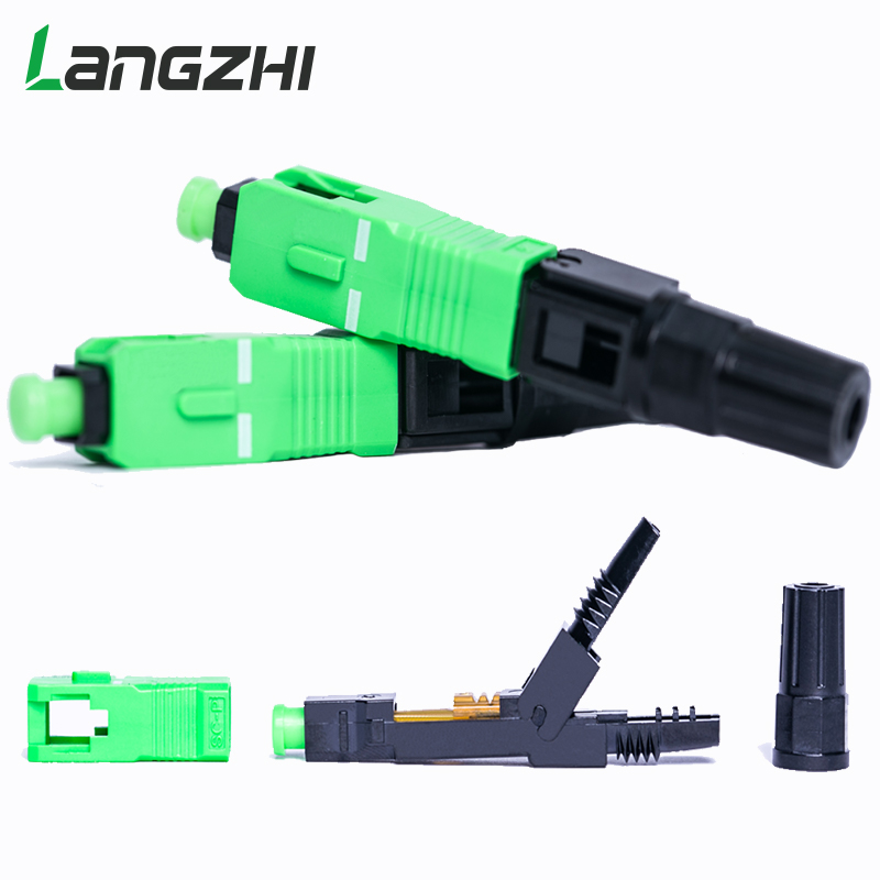 100PCS/box FTTH SC APC single-mode fiber optic SC APC quick connector SC APC FTTH Fiber Optic Fast Connector  fiber splicer