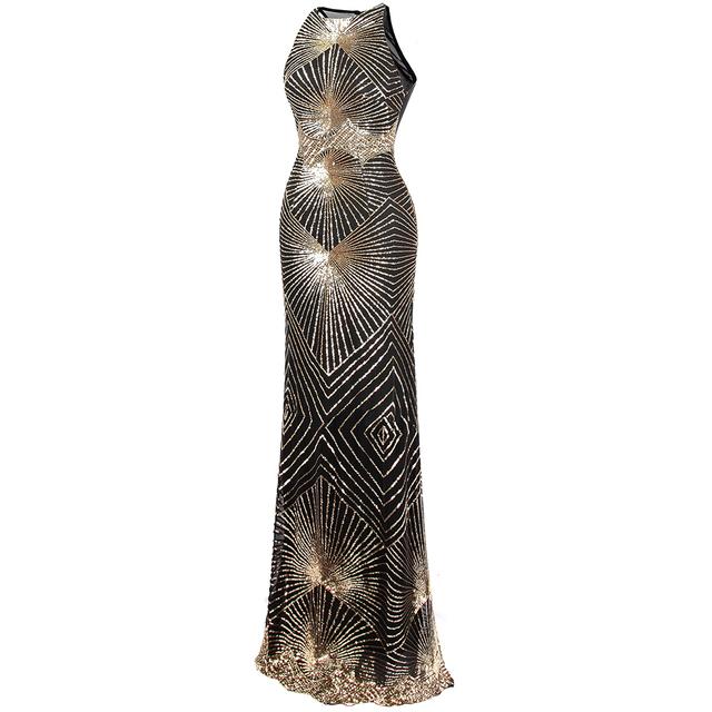 Angel-fashions Twinkling Golden Sequin Gatsby Flapper Court Train Maxi Evening Dress J-170903-S