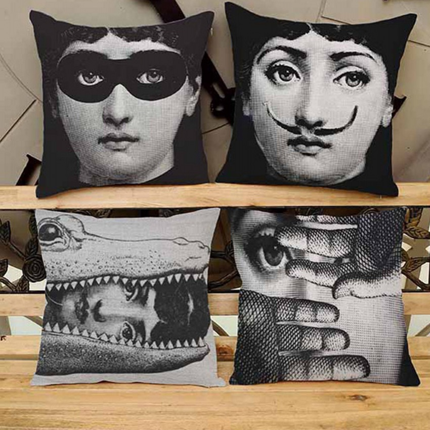 Retro Fornasetti Red Lips, Facial Expressions Home Decor Cushion Vintage Art Beauty Face Decorative Car Seat Pillow