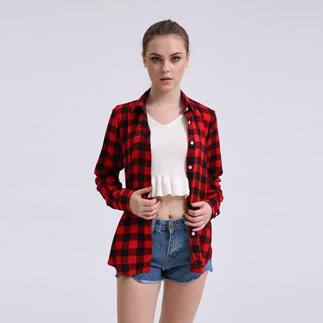 9c7e141cef 2018 Venda Quente Senhoras Verão Camisa Xadrez Plus Size Cotton Longo-Luva  Das Mulheres Do